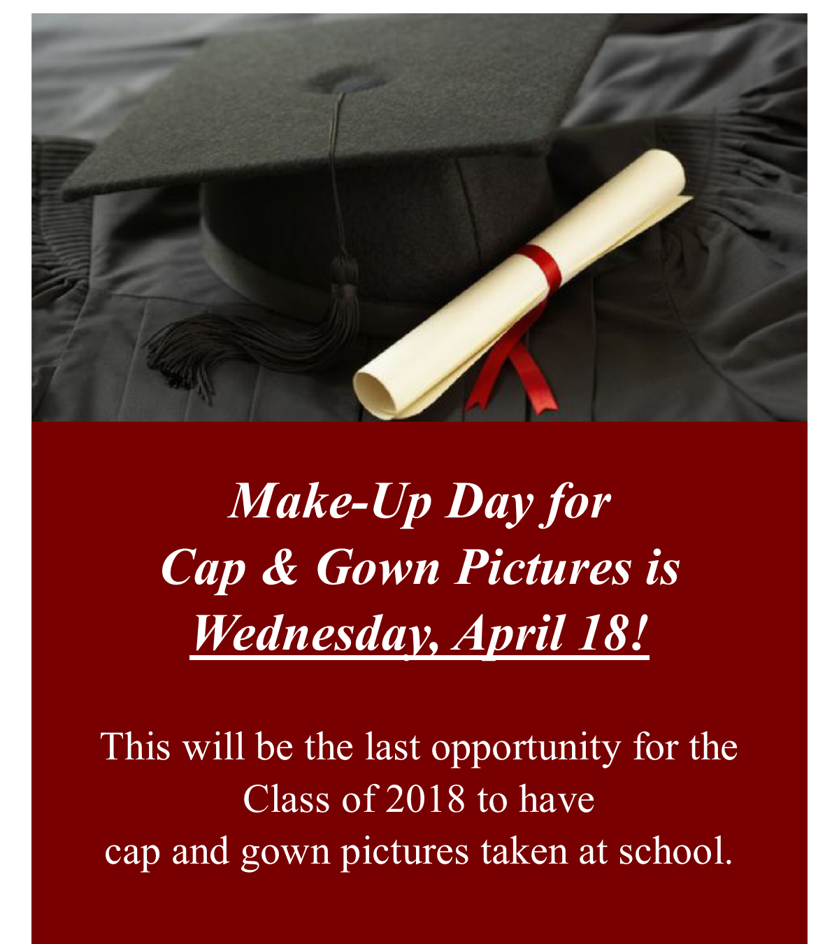 Senior Cap and Gown Make-Up Picture Announcement
